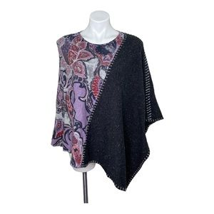 Chico's Grey Floral Print Knit Pullover Poncho